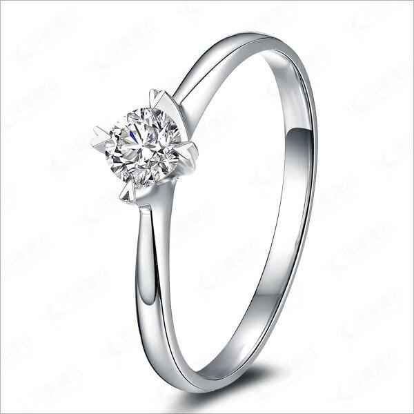 05ct genuine moissanite classic customized wedding ring solid 18karat white gold moissanites engagement ring for - Customized Wedding Rings