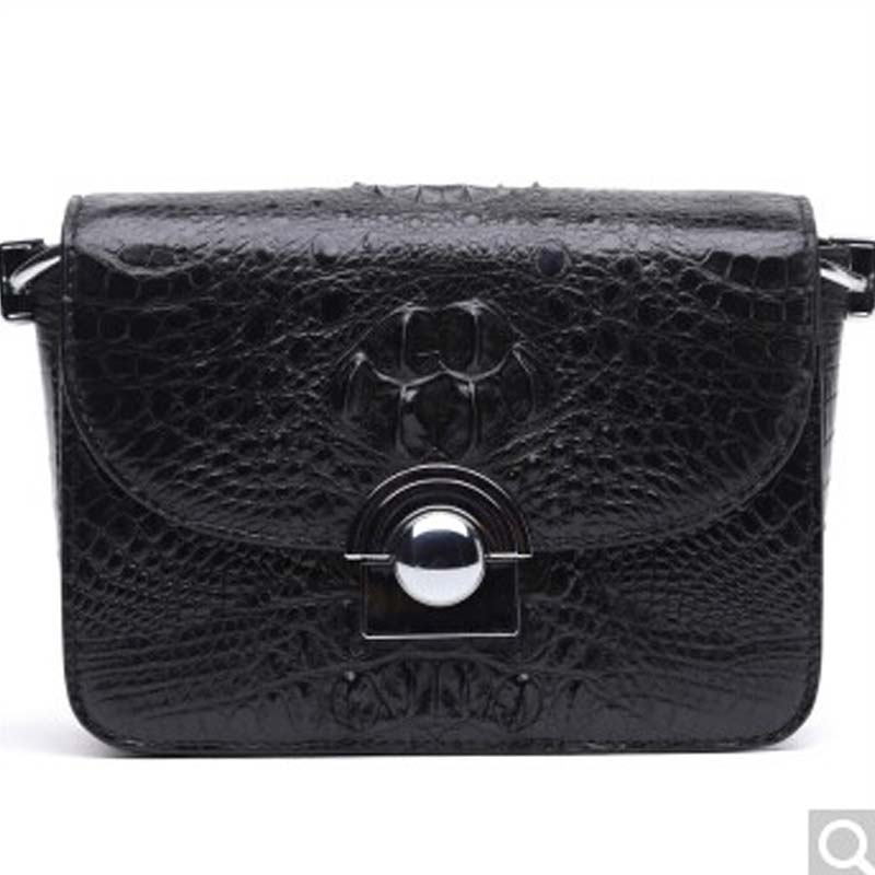 BEV New alligator leather single shoulder bag fashion trend Leisure lady real crocodile bag women chain bag  female bag black yuanyu real snake skin women bag new decorative pattern women chain bag fashion inclined single shoulder women bag