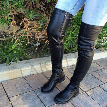 LAIGZEM Trendy Over Knee Women Boots Thigh High Side Zip Low Chunky Heels Faux Leather Shoes Botines Mujer Large Size 34-52 laigzem women over the knee boots faux leather waterproof back long zipper sexy ladies shoes womam botines mujer big size 4 19