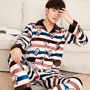 Image 3 - 2019 Winter Pajamas For Men Thick Flannel Sleepwear Suit 2 Pcs Pyjama Homme Warm Casual Home Clothing Pijama Hombre