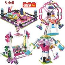 699PCS อิฐเมืองใช้งานร่วมกับ Legoingly Friends Fun Park Carnival Of Joy บล็อกอาคารรูปของเล่นเด็ก