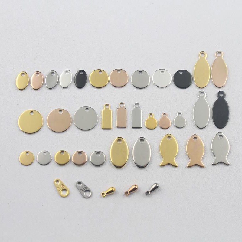With Laser Engraving Logo Plated Colors Tags Stainless Steel Labels Jewelry Tab Parts Accessories 50-500pcs/lot Some Styles