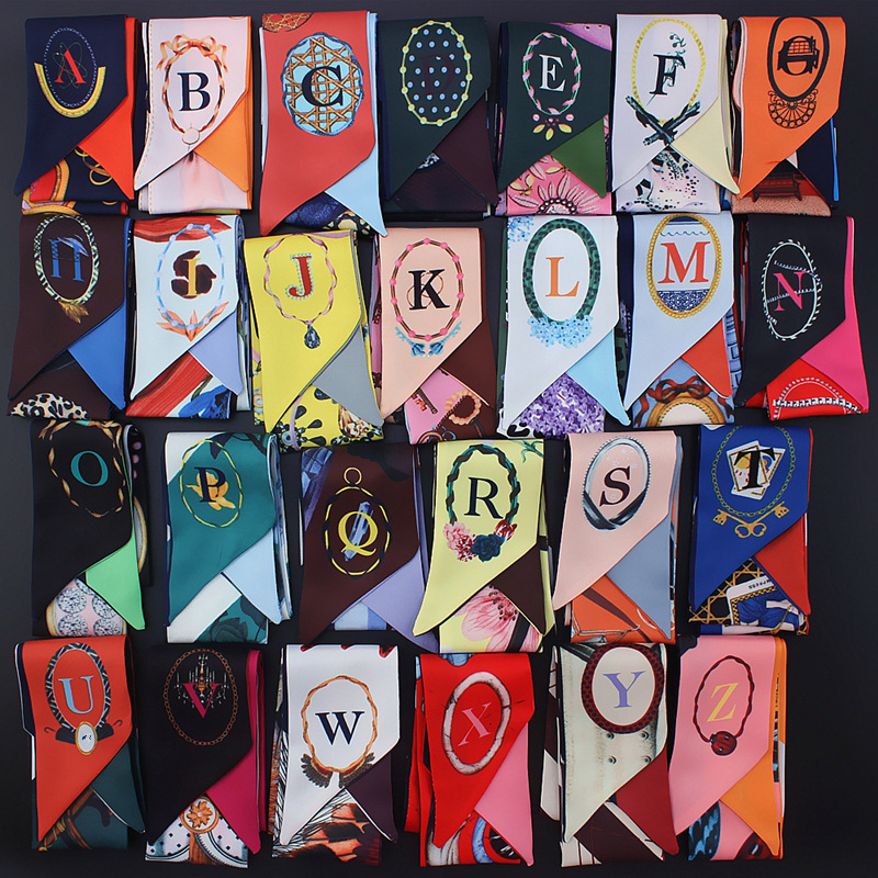 2019 new design fashion print skinny   scarves   26 letters small silk   scarf   for women handle bag ribbons female head scarfs   wraps