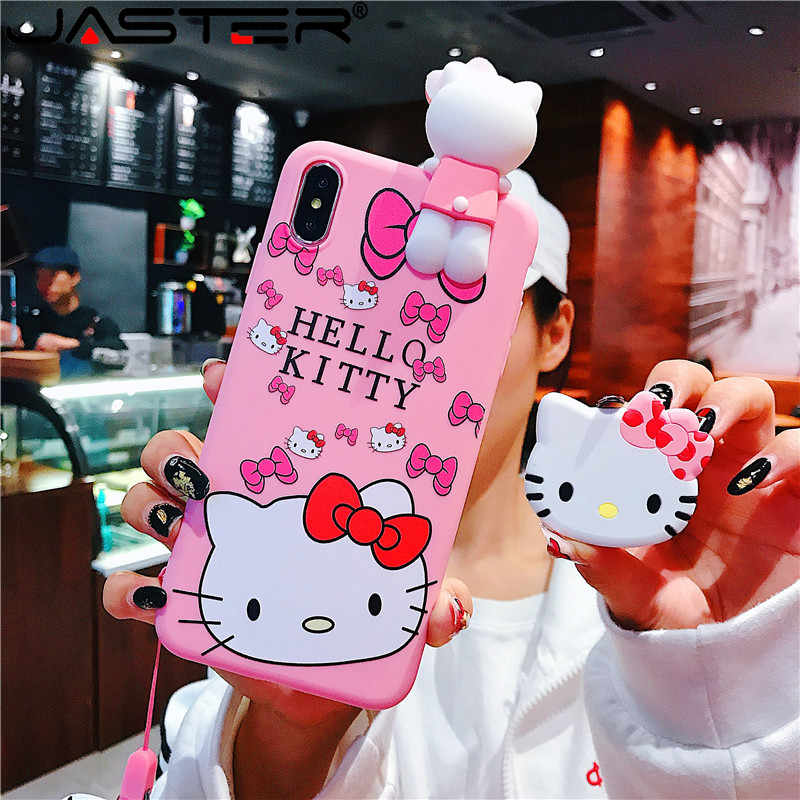 Funda trasera de silicona suave de silicona rosa para coque iphone 11 11pro 11pro max lovely Hello Kitty para iphone X XS X MAX
