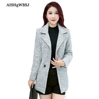 AISHGWBSJ 2018 New Women Spring Wollen Blends Coats Autumn Slim Turn down Collar Outerwear Female Woolen Coats Long Sleeve PL258