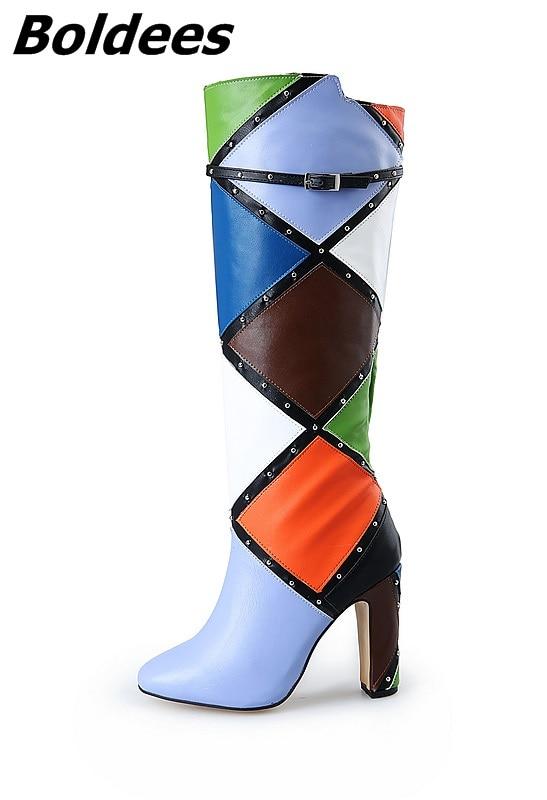 Frauen Farbe Stiefel Nieten Kniehohe Block Schnalle Dekoration Heels Ferse Trendy Motorradstiefel Chunky Design Classy Abgestimmt ApncAgf
