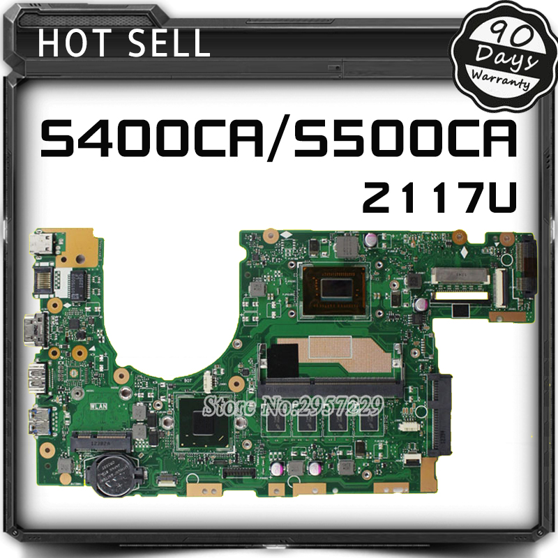 FOR ASUS Motherboard S500C S400C S500CA S400CA REV2.1 Mianboard With 2117U 2G Memory On Board 100% Work for asus x200ca motherboard with 2117 cpu x200ca rev2 1 system board 100% working