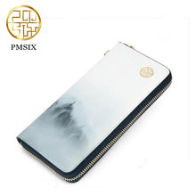 Women's leather long section zipper wallets 2017 Pmsix fresh landscape painting printed handbags white P420067