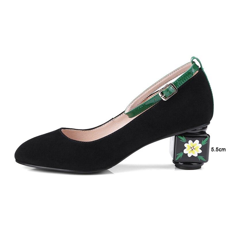 43 À Grande Fleurs Pompes Taille Noir Talons Femmes Cheville Chaussures vert Luxe Bout La Haute Bride Noce Femme Kcenid Élégante De Rond Nouvelle rtshCxBQd