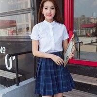 Japanese School Uniforms Set Women Summer Short Seeve Shirt Skirt School Wear Students Uniform Clothes for Girls D 0186