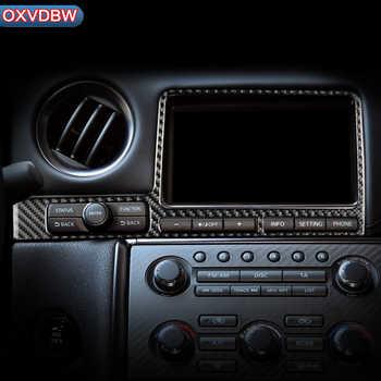 Autocollants de cadre de Console de voiture | En Fiber de carbone, pour nissan GTR R35 2009-2015 LHD panneau de Navigation RHD, style de la voiture, garniture intérieure