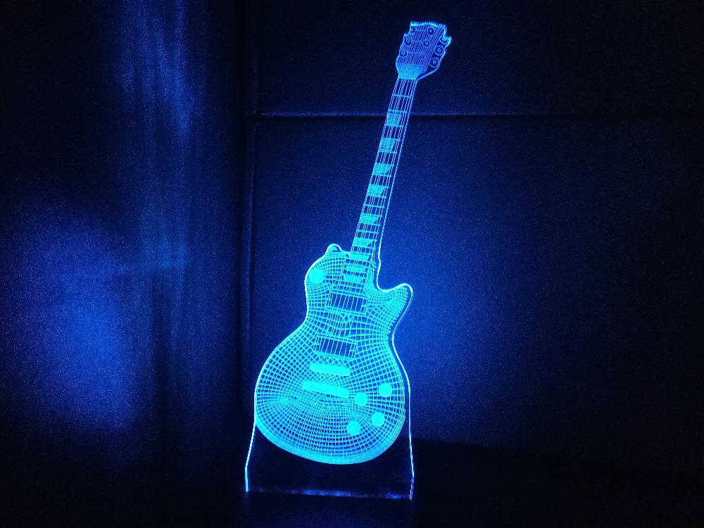 2017 new guitar shape 3d night light musical instruments lamp 7 colors 3d led usb 3d bedside. Black Bedroom Furniture Sets. Home Design Ideas