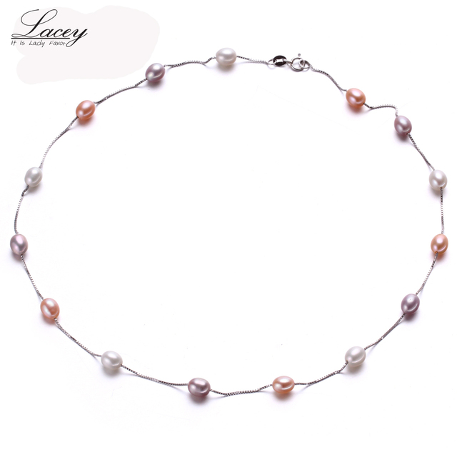 Muilt Natural pearl necklace 100% 925 sterling silver chain necklace, 6-7mm Real Cultured Freshwater pearl Jewelry for Women