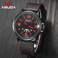 AMUDA Luxury Date Day Casual Watch Men Sports Watches Army Military Quartz Geniue Leather Wrist Male