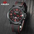 AMUDA Luxo Data Dia Relógio Vermelho Homens Sports Relógios Militar Do Exército de Quartzo de Couro Genuíno Relógio de Pulso Masculino relogio masculino