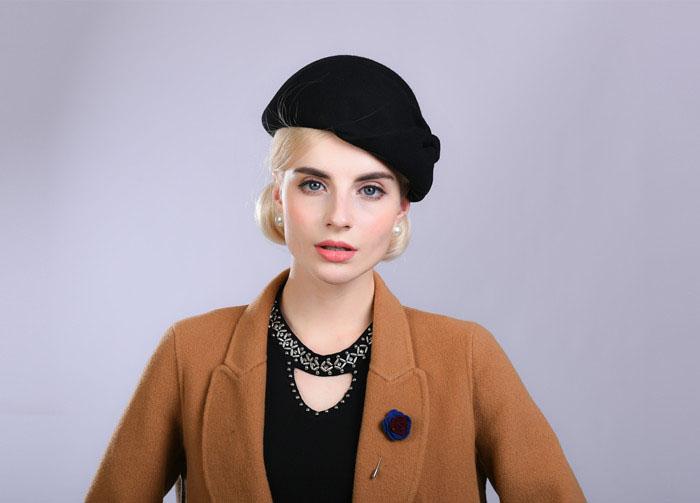 94cdec3a05a09 Fibonacci Noble Elegant Women Wool Felt Beret Bride Headdress Fedora Hat  Dinner Party Wedding Hats. 11 12 13 14 ...