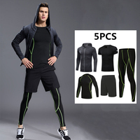 13f291706 5Pcs Men Sport Kit Compression Running Sets Jackets Basketball Football  Tennis Fitness GYM Tights Shorts Shirts