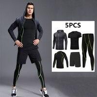 5Pcs Men Sport Kit Compression Running Sets Jackets Basketball Football Tennis Fitness GYM Tights Shorts Shirts Pants Leggings
