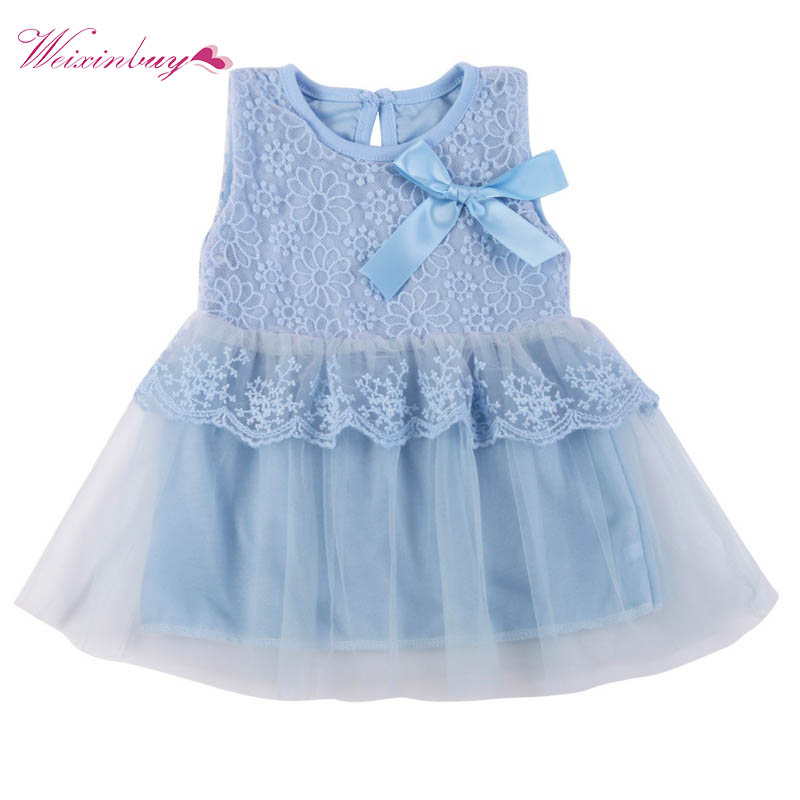 Kids Cotton Bow Lace Dress Ball Gown Casual Chiffon Princess Baby Girls Dresses 0-2Y High Quality
