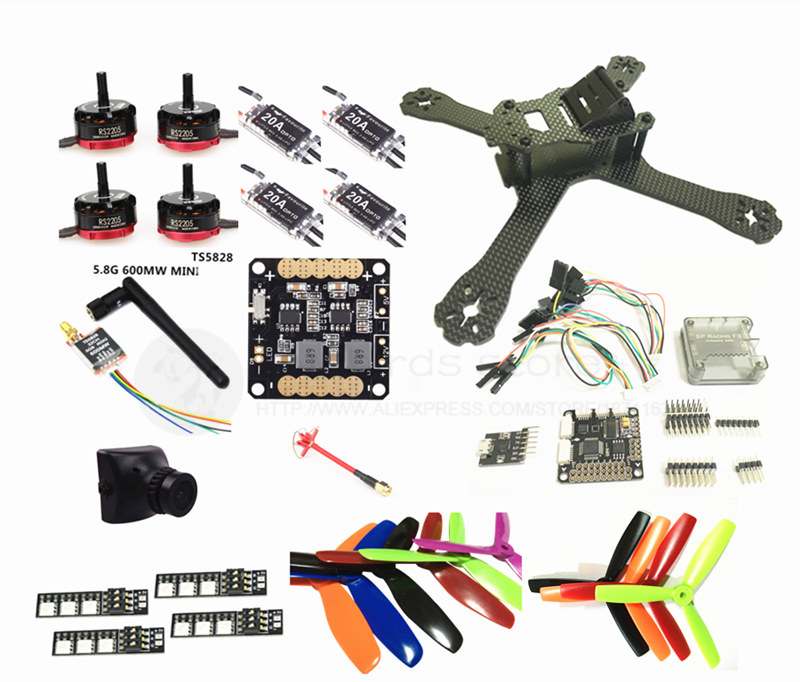 DIY FPV mini drone QAV-X 5 3/4 quadcopter frame kit EMAX RS2205 + littlebee BL20A ESC 2-4S + SP F3 built-in OSD + mini camera mini 130mm carbon fiber fpv quadcopter frame kits with emax 1306 4000kv motor littlebee blheli s spring 20a esc f3 f4 fc ts5823l