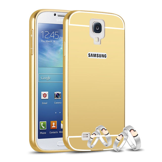 hot sale online 70ca3 d4412 US $3.65 |S4 Gold Plating Aluminum Metal Frame Case For Samsung Galaxy S4  i9500 Mirror Acrylic Back Cover Fundas Luxury Accessories-in Fitted Cases  ...