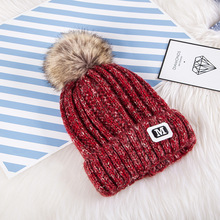 2018 M letter Fashion Solid Warm Hats New Pom Poms Winter Hat for Women Knitted Beanies Cap Brand Thick Female Cap Wholesale