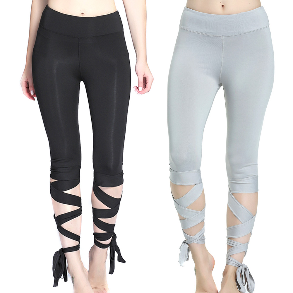 Women Casual Tight High Waist Fitness Ladies Girls Ballet Bandage Pants Slim Fit Elastic  H9