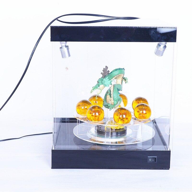 Dragon Ball Z Action Figures Anime 16CM Dragon+7.5cm Crystal Balls+Shelf + LED Display Dragon Ball Crystal Balls Toys