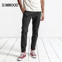 SIMWOOD 2017 Autumn Winter Casual Pants Men Deep Gray Slim Fit Trousers Men High Quality Plus