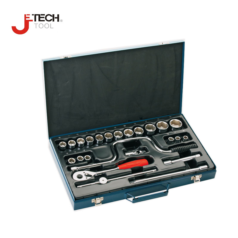 Jetech 24pcs 1/2 DR metric craftsman deep socket wrench set with ratchet adapter kit automotive tool lifetime guarantee california faucets craftsman styledrain set with 2 ips black