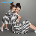 BeckyWalk Mother And Daughter Same Clothing Spring&Autumn Striped Long Sleeve Dress Family Matching Outfits Girls Dress CCL203