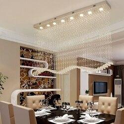 Nowoczesny prostokątny kryształowy żyrandol oświetlenie długie jadalnia oświetlenie led do pokoju nabłyszczania de cristal dekoracji wnętrz oprawy oświetleniowe w Żyrandole od Lampy i oświetlenie na