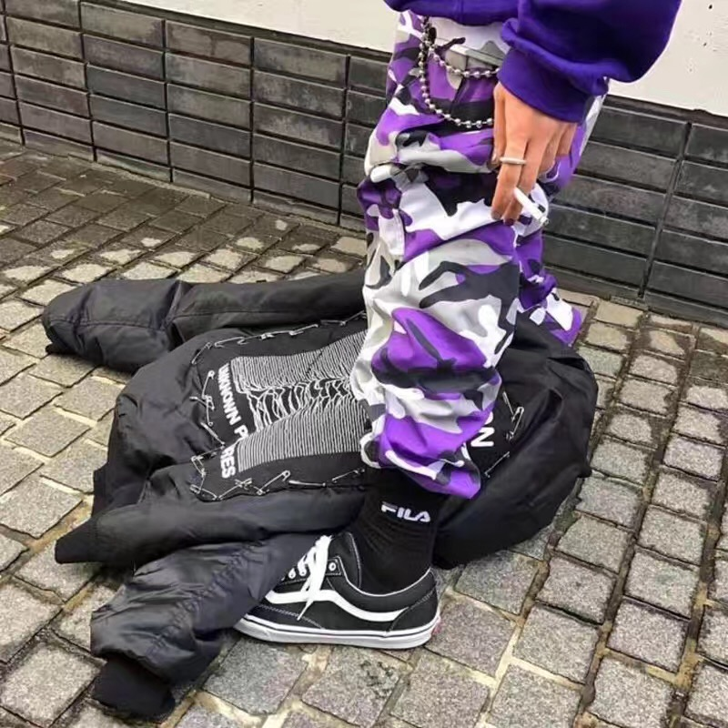High quality 2017 fashion camouflage pants men new clothes hip hop street jumpsuit camo cargo loose men's tracksuits Cargo Pants idopy men s street style denim pants camouflage camo joggers stretchy drawstring biker cargo pants for hipster