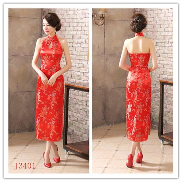 Free shipping Women's Satin Halter Cheongsam Sexy Long Qipao Backless Costume Dress Size S---XXXL Chinese Traditional Dress
