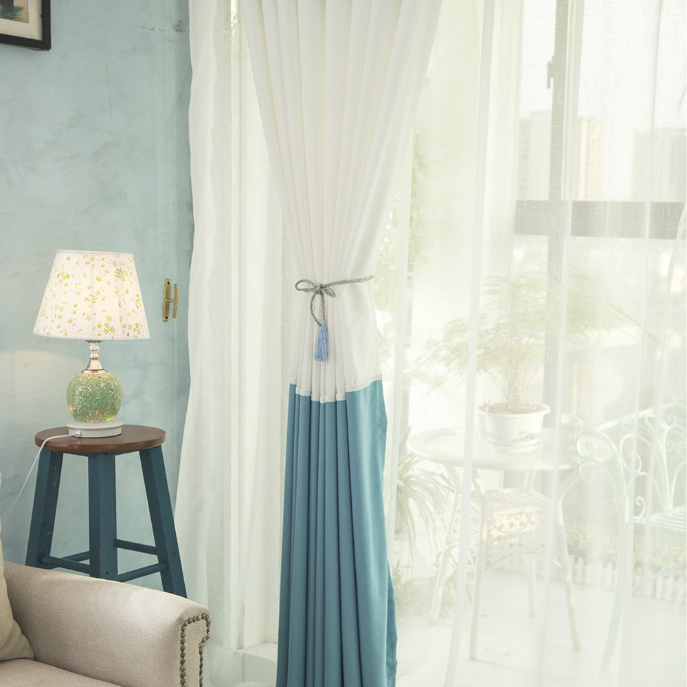Modern Plain Linen White Voile Splicing Pink Curtains For Living ...
