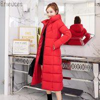Brieucs зимняя куртка женская 2018 новая мода сплошной цвет с капюшоном воротник Женское пальто Куртка Карманы красное зимнее пальто Женская