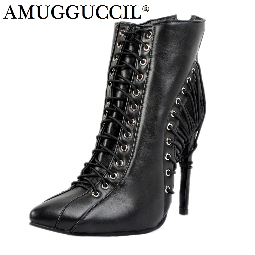 2018 New Arrival Plus Big Size 34-47 Black Lace Up Zip Fashion High Heel Females Girl Lady Ankle Autumn Winter Women Boots X1667 new 2016 fashion women winter shoes big size 33 47 solid pu leather lace up high heel ankle boots zapatos mujer mle f15