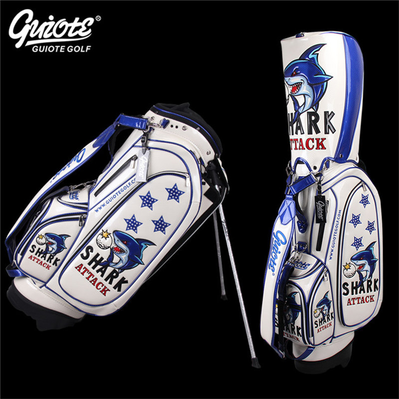SHARK ATTACK Golf Stand Bag PU Leather Golf Carry Bag With Rainhood Embroidery Design 8-way 9