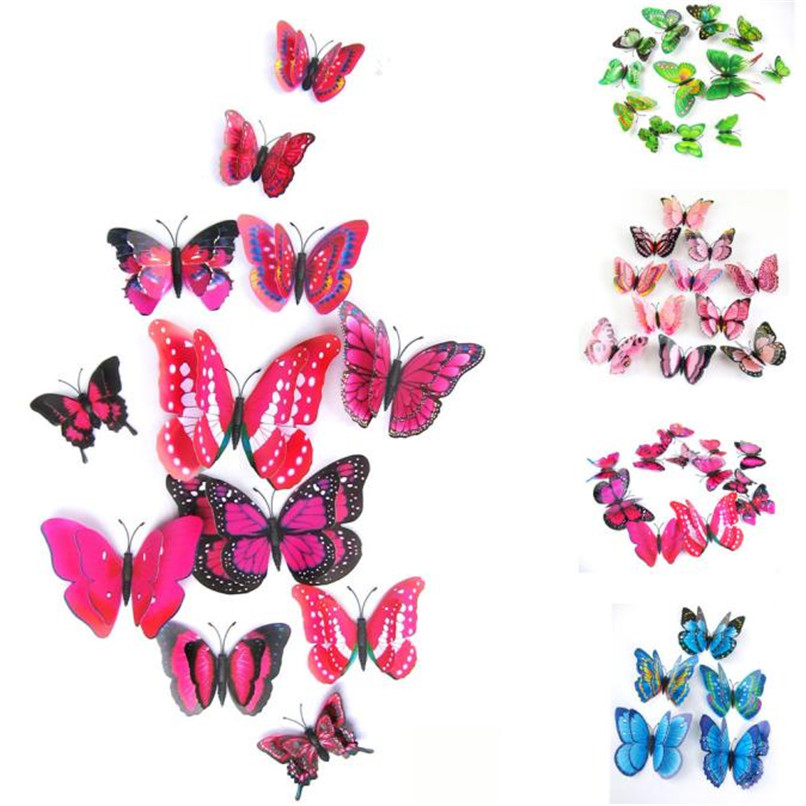 12pcs/lot 3D PVC Wall Stickers Magnet Butterflies DIY Wall Sticker Home Decor Poster Kids Rooms Wall Decoration Free Shipping