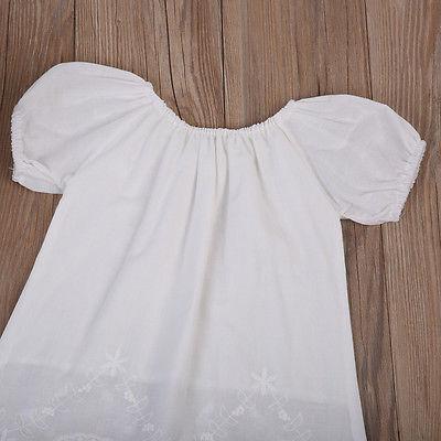 Toddler Kids Children Girls Casual Short Sleeve White Cotton Dress Summer Princess Party Wedding Dress Clothing