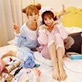 2016 princesa calças de pijama definir rendas decoração Sleepwear pijamas femininos verao salão definir real pijama Lace em torno do pescoço Floral