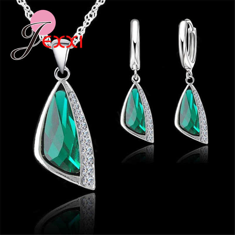 New Charming 925 Sterling Silver Austrain Crystal Pendant Necklace Hoop Earring Set Geometric Crystal Jewelry Sets