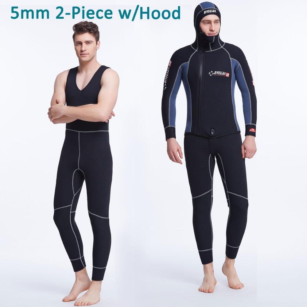 2-Piece Set Men's Wetsuit Jacket w 5mm Neoprene / Black Blue Patchwork Front Zip Spearfishing Diving Suit Hood and Jone Suit button detail zip front striped jacket