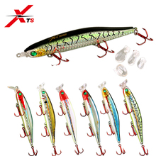 XTS Fishing Lure 90mm 105mm 124mm Artificial Hard Popper Minnow Pencil Bait 7 Colors Topwater Floating 4 lips 5345
