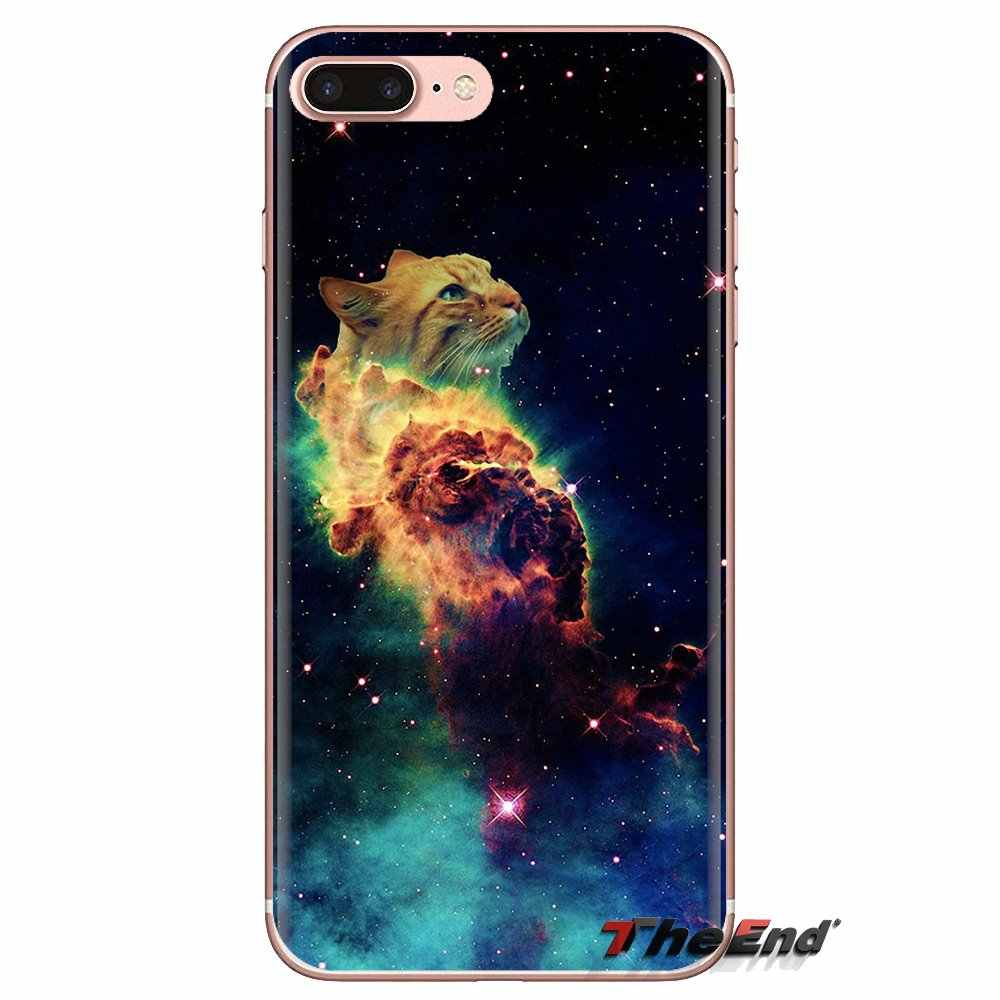 For Sony Xperia Z Z1 Z2 Z3 Z5 compact M2 M4 M5 C4 E3 T3 XA Huawei Mate 7 8 Y3II Silicone Covers Nebula Space Cat Glasses Hipster