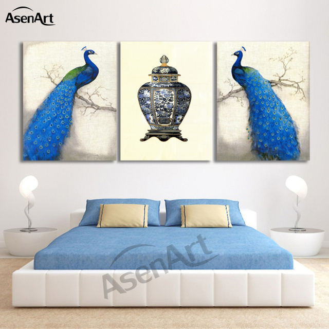 3 Piece Art Sets Beautiful Pea Paintings Modern Canvas Print Wall Animal Picture Living Room
