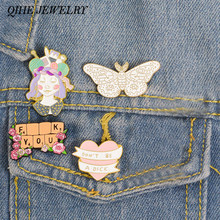QIHE JEWELRY Floral pins Crafty Girl Power Inspirational Quote Banner Enamel pins Flower brooches Lapel pins for Craft Lover(China)