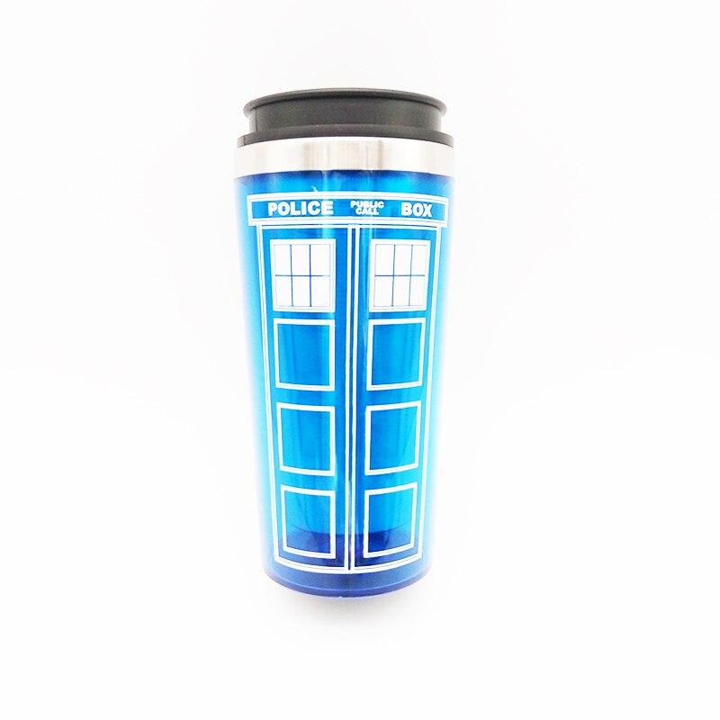 Doctor who thermos mug police box tardis coffee cup - Travel mug stainless steel interior ...