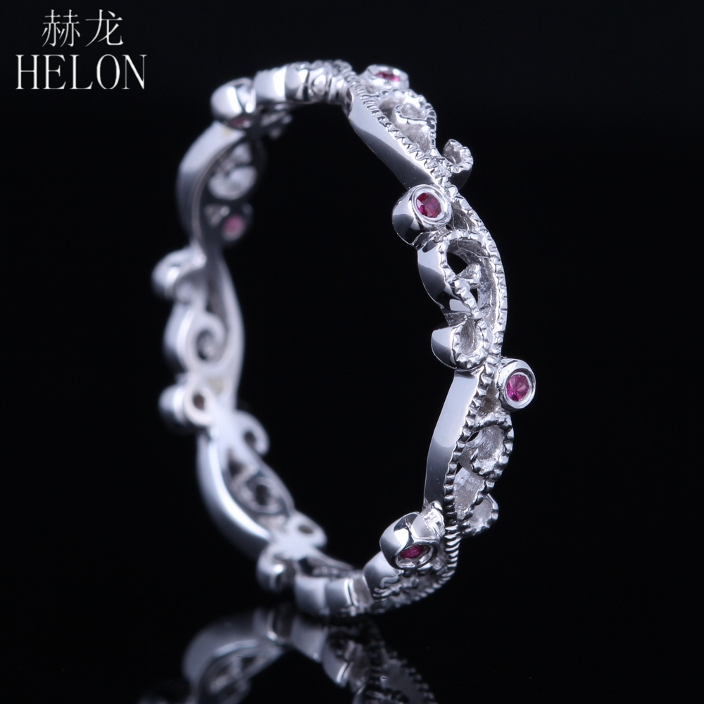 HELON Ruby Ring Sterling Silver 925 Art Deco Filigree Gemstones Engagement Wedding Ring For Women Party Unique Fine Jewelry