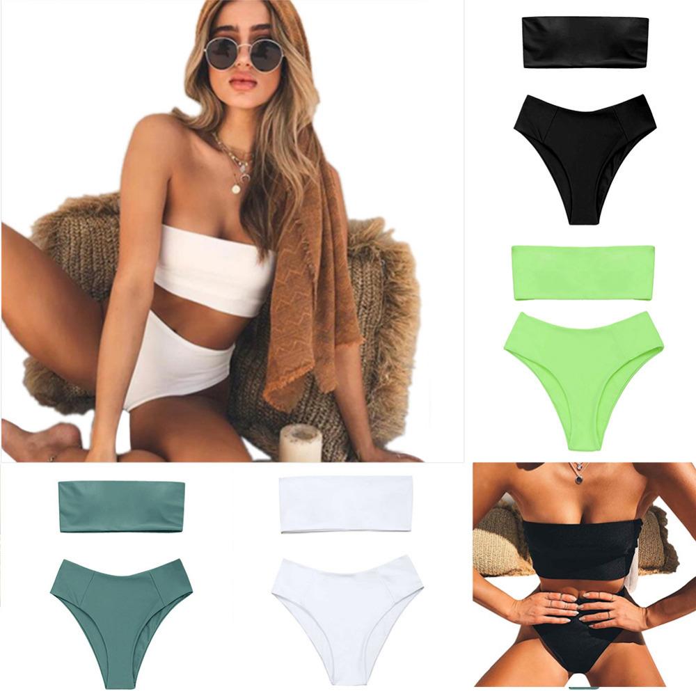 Off Shoulder Swimsuit Bikini 2018 Pure Sexy Bandeau Bikini Set Women Swimwear High Padded Bathing Suits Beach Swimwear
